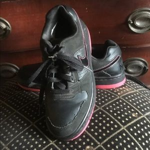 Black Leather Nike Athletic Shoes